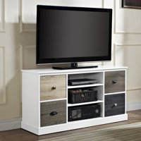 "Ameriwood Home Mercer 50"" TV Console with Multicolored Door Fronts, White"