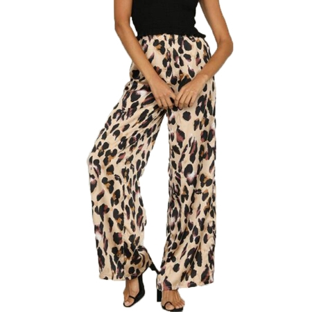 JustVH Women's High Waisted Leopard Printed Wide Leg Palazzo (Leopard Print Hot Pants)