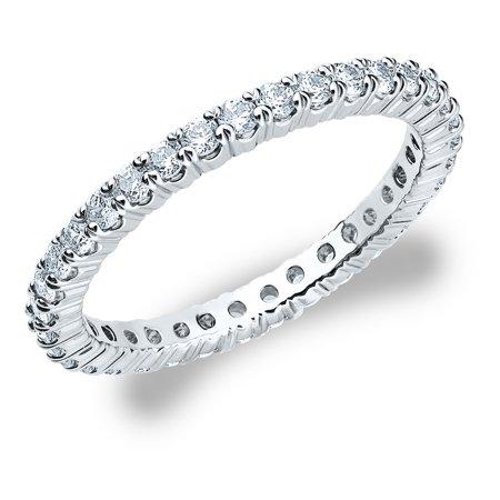 - 3/4 CT Diamond Eternity Wedding Band in White Gold, 0.75 CT Round Diamond Anniversary Ring