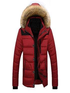 Men's Winter Hooded Warm Coat Winter Parka Jacket With Removable Hoodie
