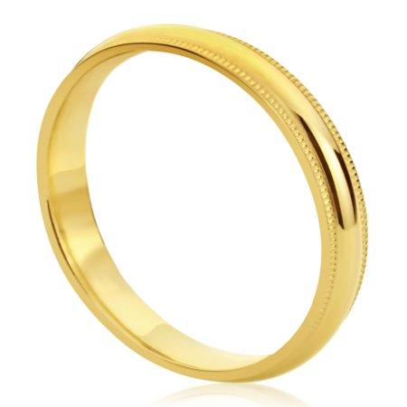14K Yellow Gold Wedding Band 4mm Milgrain Edges Domed Classy Comfort Fit - 14k Yellow Gold Milgrain Edge