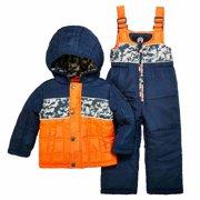 d331d10bf Weatherproof Infant Boys Blue   Orange Snow Bibs   Coat Set Snowsuit 12m