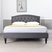 Modern Sleep Wellesley Upholstered Platform Bed | Headboard and Metal Frame with Wood Slat Support | Grey, Multiple Sizes