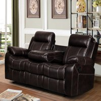 Vivienne Leather Air Reclining Sofa with Tea Table, Dark Brown