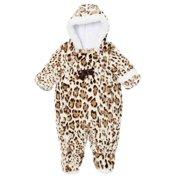 5e9cb5e6f Pistachio Infant Girl Plush Faux Fur Leopard Snowsuit Footed Pram Snow Suit