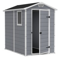 Keter Manor 4' x 6' Resin Storage Shed, All-Weather Plastic Outdoor Storage, Gray/White