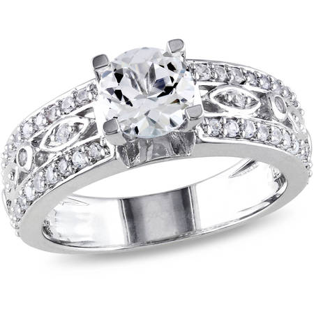 1-7/8 Carat T.G.W. White Sapphire Sterling Silver Filigree Engagement Ring Center Sapphire Engagement Ring