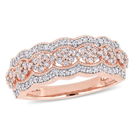 Scalloped Edge Ring (1/2 Carat T.W. Diamond 10k Rose Gold Floral Scalloped)