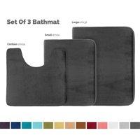 "Set of 3 Clara Clark Bath Mat Bathroom Rug - Absorbent Memory Foam Bath Rugs - Non-Slip, Thick, Cozy Velvet Feel Microfiber Bathrug - Black - Large 20""x32"" - Small 17""x24"" - Contour 24""x20"""