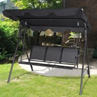 Gymax Black Outdoor Swing Canopy Patio Swing Chair 3 Person Canopy Hammock