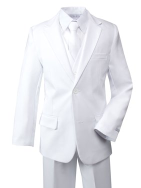 Spring Notion Boys' Modern Fit Dress Suit Set White