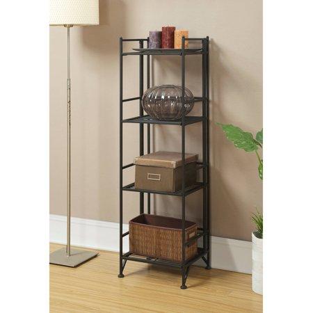 Convenience Concepts Designs2Go Metal Folding 4 Shelf Bookcase, Black ()