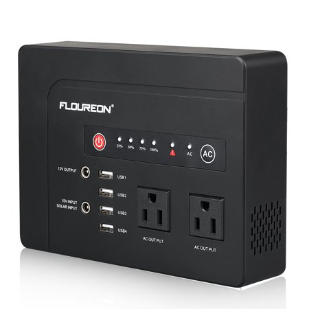 FLOUREON 42000mah Portable Power Station Emergency External Battery Pack Generator Backup, 200W(Max) 120V 2 AC Outlets/4 USB Ports/Solar Input, Power Bank for MacBook Laptop Camera Cellphone and