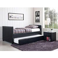 Stratus Twin Daybed with Trundle, Black Faux Leather