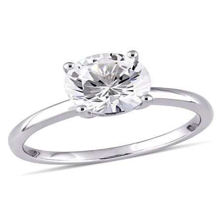 2-3/8 Carat T.W. Created White Sapphire 10kt White Gold Solitaire Engagement - White Gold Contour Engagement Ring