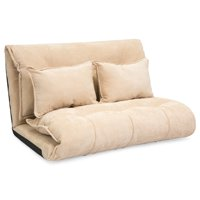 Best Choice Products Foldable Floor Gaming Sofa Bed w/ 2 Fleece Pillows (Beige)