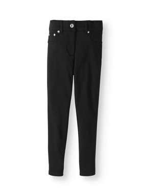 Girls' School Uniform French Terry Skinny Pants With Mock Round Pockets