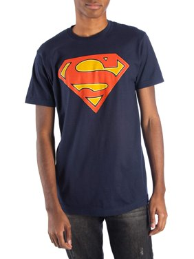 Superman Men's Glow-In-The-Dark Superman Logo Short Sleeve Graphic T-Shirt, up to Size 3XL
