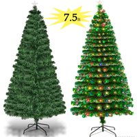Zimtown 7.5FT Pre-Lit Artificial Christmas Tree Optical Fiber 7.5 FT with W/ 260 Multicolored LED Lights & Metal Stand