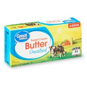 Great Value Sweet Cream Unsalted Butter Sticks, 16 oz, 4 Count