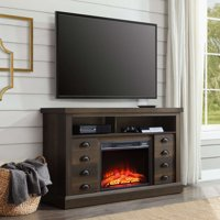 "Better Homes & Gardens Granary Modern Farmhouse Fireplace Console, Television Stand for TVs up to 70"", Aged Brown Ash Finish"
