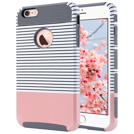 iPhone 6 Plus Case,iPhone 6s Plus Case, ULAK Slim Dual Layer Protection Scratch Resistant Hard Back Cover Shockproof TPU Bumper Case for Apple iPhone 6/6S Plus 5.5 inch-Minimal Rose Gold (Best Iphone 6s Plus Case With Belt Clip)