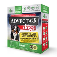 Advecta 3 Tick, Flea, and Mosquito Repellent and Treatment for Medium Dogs, 4 Monthly Doses