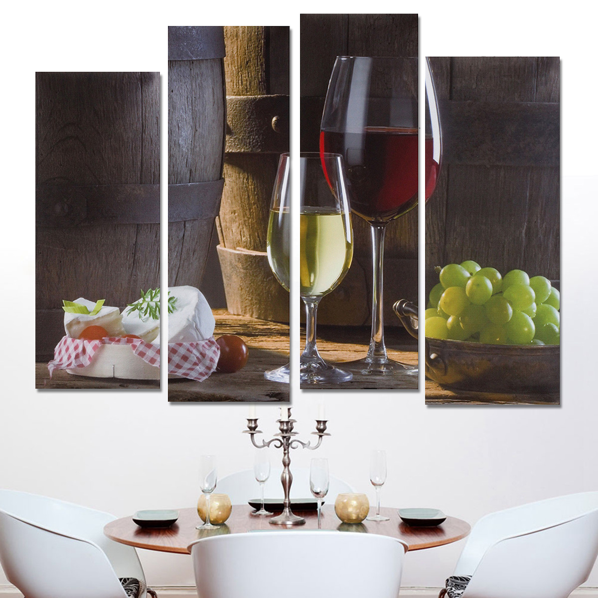 Unframed Modern Abstract Canvas Wall Art Oil Painting Picture Print 4 Panel  Art Red Wine Dessertst