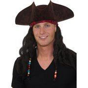 0f803990 Adults Deluxe Caribbean Pirate Hat With Dreadlock Hair Costume Accessory.  Price