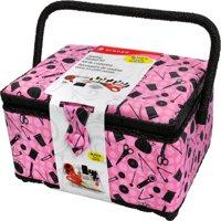 Singer Sewing Basket Kit with Bonus Notions, Pink
