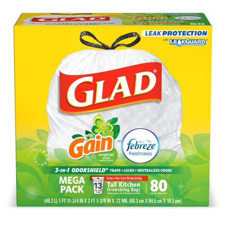 Glad Tall Kitchen Drawstring Trash Bags - OdorShield 13 gal White Trash Bag, Gain  Original with Febreze Freshness - 80 (Glad Tall Kitchen Drawstring)