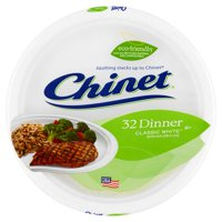 "Chinet Classic White Paper Dinner Plates, 10 3/8"", 32 Count"