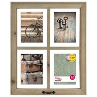 """Better Homes & Gardens 18.12"""" x 1.00"""" x 22.12"""" 4-Openings Rustic Windowpane Collage Frame"""