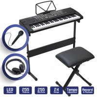 61-Key Electronic Keyboard Piano with Stand, Stool, Headphones & Microphone