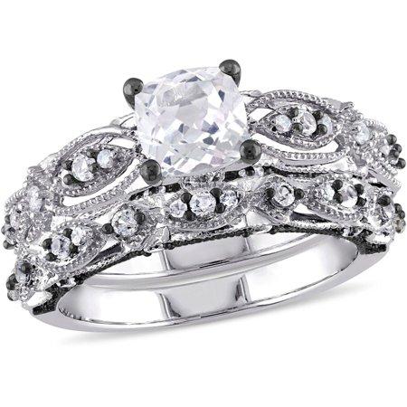 Vintage Bridal (1-7/8 Carat T.G.W. Created White Sapphire and 1/10 Carat T.W. Diamond 10kt White Gold Milgrain Design Vintage Style Bridal)