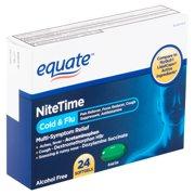 Equate NiteTime Cold & Flu Multi-Symptom Relief Softgels, 24 count