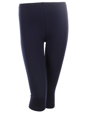 Cotton Capri Leggings Plain Pants Capris For Women Junior & PLUS Size, Navy, Small