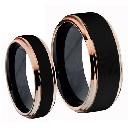 For Him & Her Two-Tone Black IP & Rose Gold IP Step Edge Brushed Center Titanium Wedding Band Ring Set - Center Pieces For Wedding