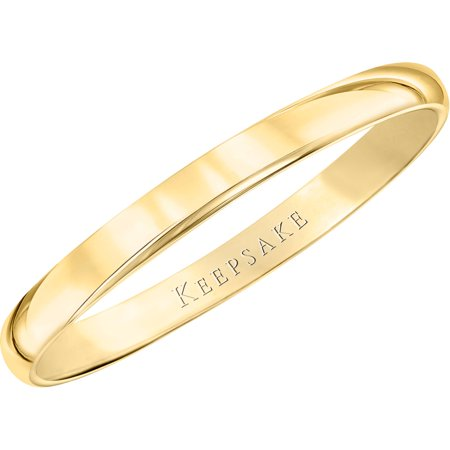 10kt Yellow Gold Wedding Band With High-Polish Finish, 2mm D-shaped Band Wedding Ring
