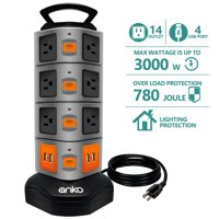 Power Strip Tower, ANKO 3000W 13A 16AWG Surge Protector Electric Charging Station, 14 Outlet Plugs with 4 USB Slot 6ft Cord Wire Extension Universal Charging Station(1-PACK)