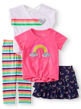 Rainbow Mix and Match, 4-Piece Outfit Set (Little Girls & Big Girls)