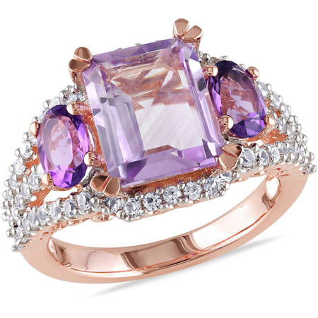 - 4-5/8 Carat T.G.W. Rose de France, Amethyst and Created White Sapphire Pink Rhodium-Plated Sterling Silver Cocktail Ring