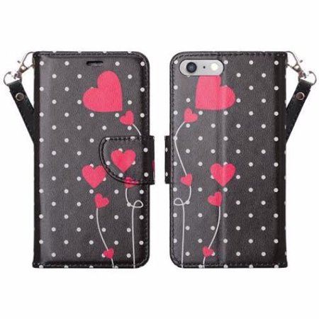 Apple iPhone 8 Plus Case Cover, Wrist Strap Pu Leather Magnetic FoldKickstand Wallet Case with ID & Card Slots for iPhone 8 Plus - Polka Dots Hearts ()