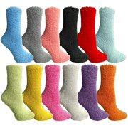 33a548714049 Excell Womens Fuzzy Socks (12 Pairs) Soft Warm Winter Comfort Socks  Multicolor, Solid