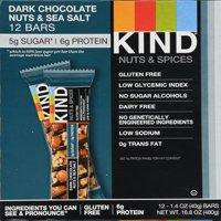 KIND Bars, Dark Chocolate Nuts & Sea Salt, Gluten Free, 5g of Sugar, 1.4 Ounce, 12 Count