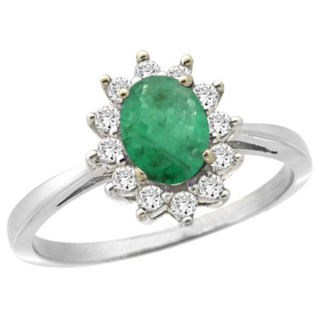 14K White Gold Natural Emerald Engagement Ring Oval 7x5mm Diamond Halo, size 9