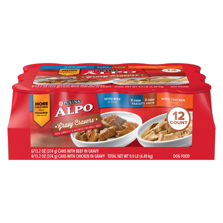 ALPO Gravy Cravers Adult Wet Dog Food Variety Pack - (12) 13.2 oz. Cans