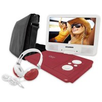 """Sylvania 9"""" swivel screen portable dvd player with deluxe carry bag and matching headphones"""