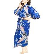 3ad9a31720 Elegant Long Floral Silk Kimono Womens Robe