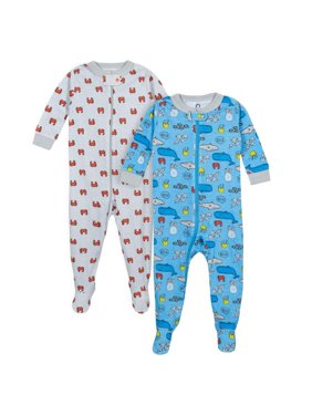 Footed Tight-fit Unionsuit Pajamas, 2pk (Baby Boys)